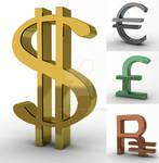 3D Dollar, Euro, Rubl, Pound