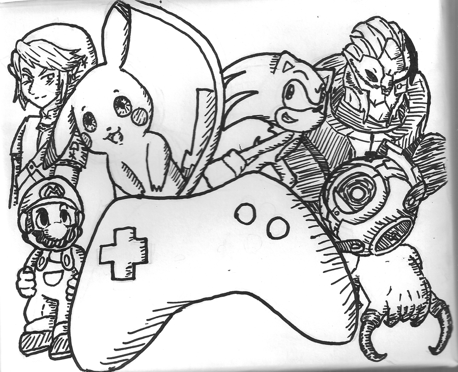 Scribble Drawing Game : Videogames sharpie doodle by angeliccharizard on deviantart