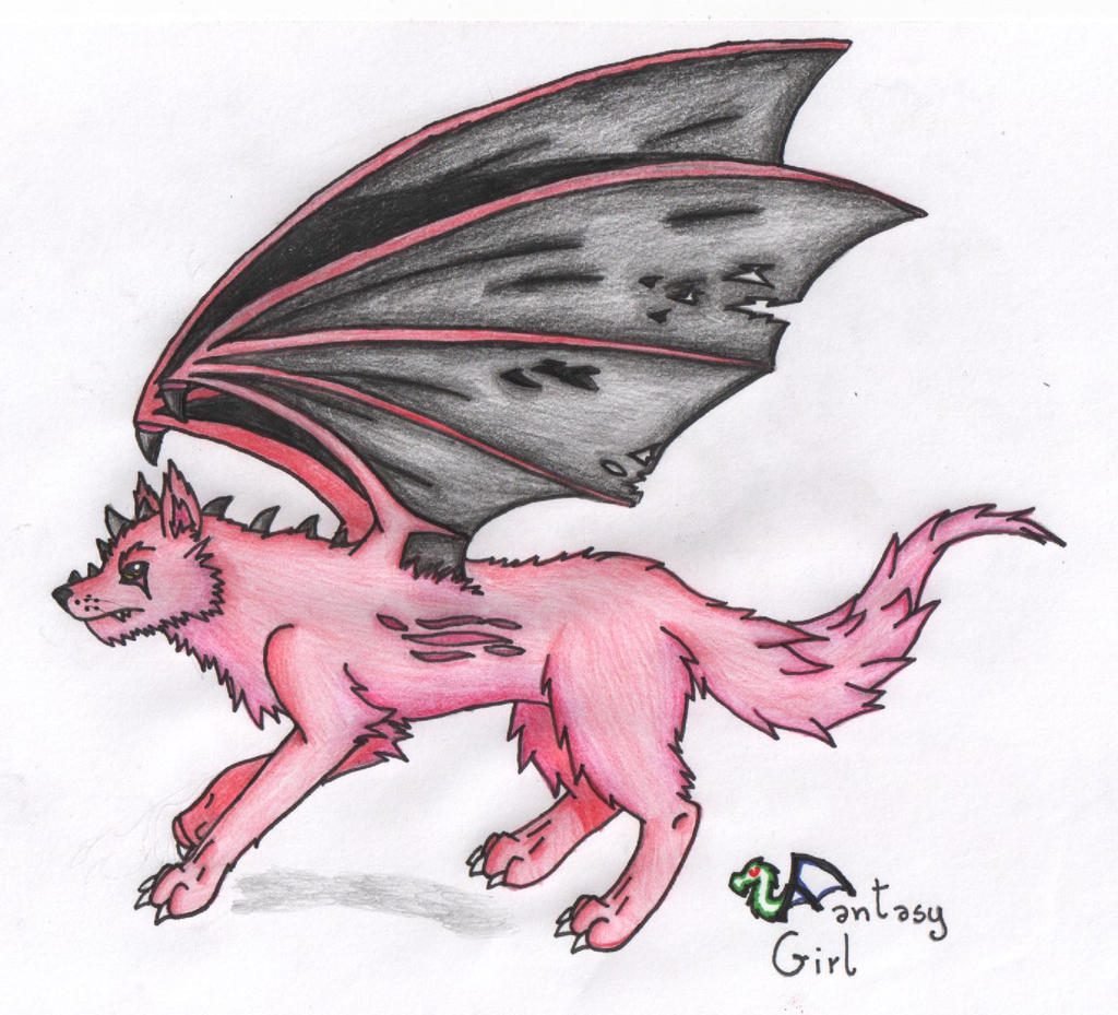 Red Wolf With Wings