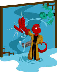 Kid Hellboy by rebel-penguin