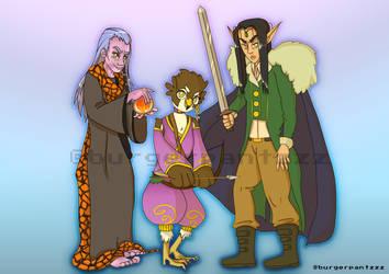 Salivor, Nyrena, and Thalien by burgerpantz