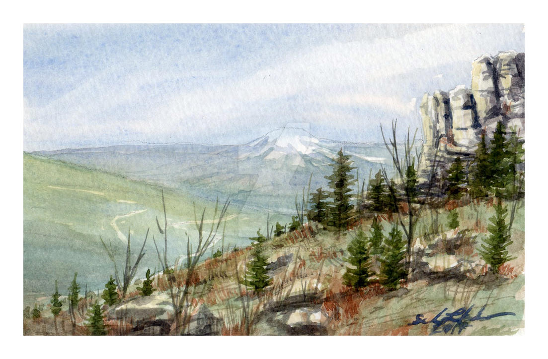 Mini Watercolor To The West By SALTWatercolors
