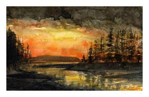 Mini watercolor: Heaven On Fire by SALTWatercolors