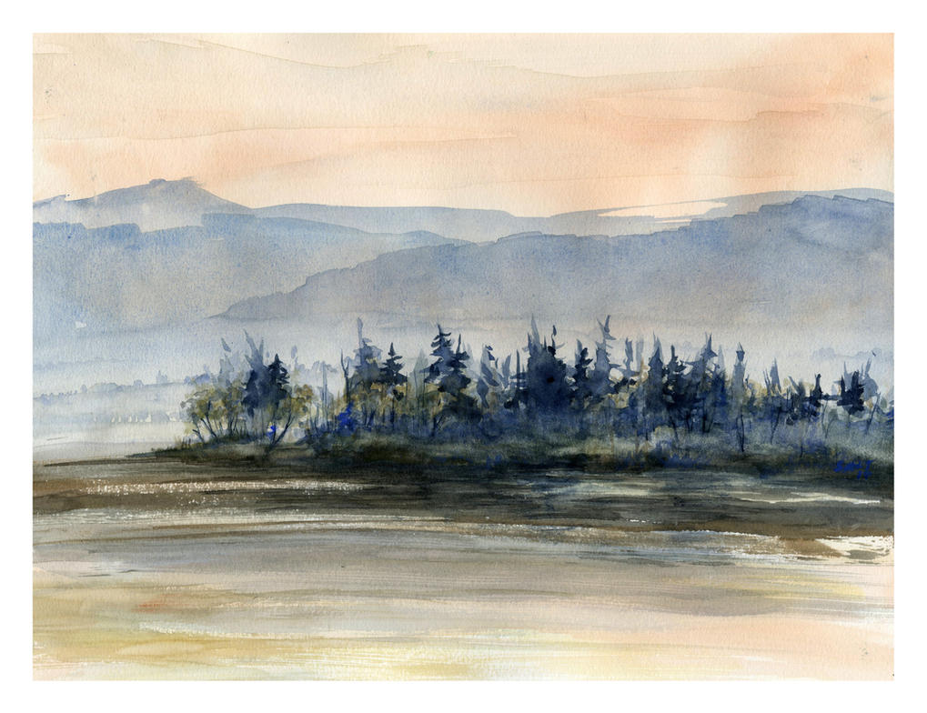 Tangerine Skies and Cerulean Mountains by SALTWatercolors