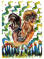 Polish rooster on yupo
