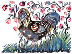 Yupo rooster with pink flower