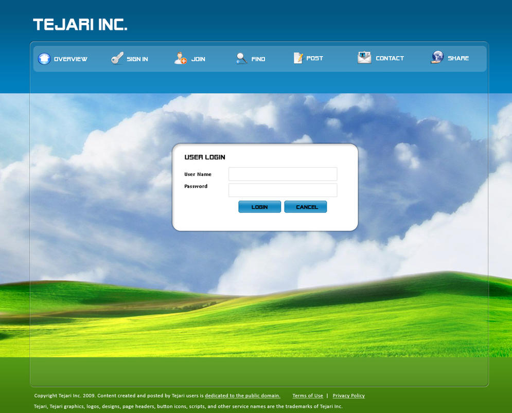Login page for a web application for tejari inc by dipti for Deviantart login