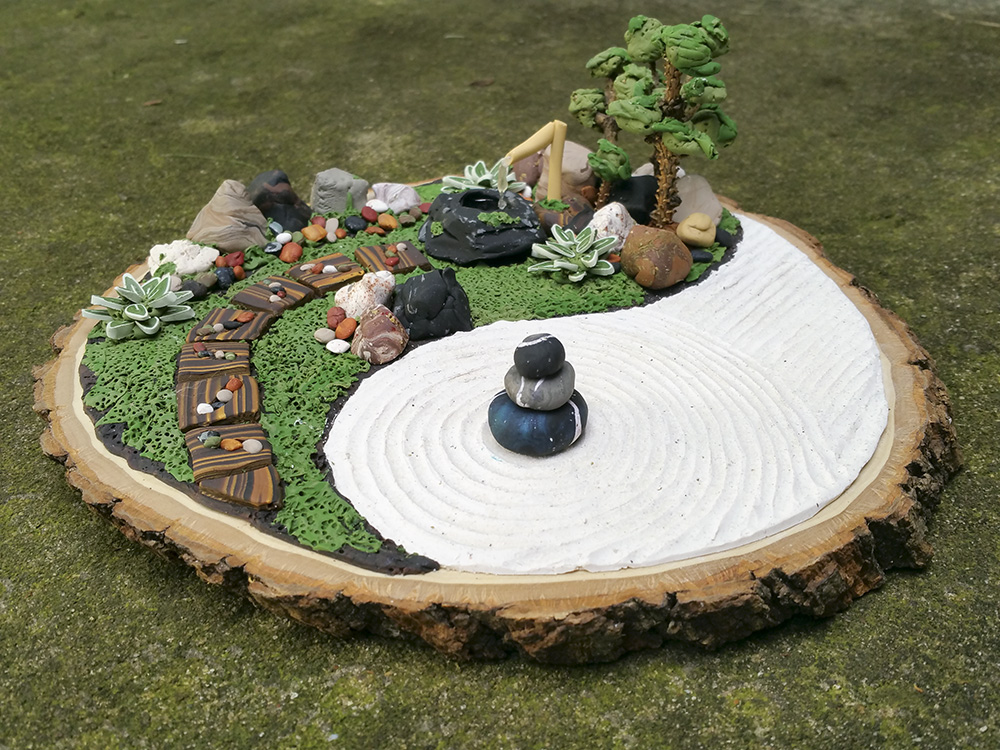Polymer Clay Zen Garden by lani-enigma