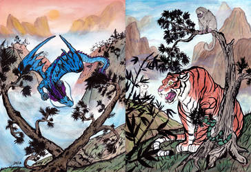 Dragon and Tiger Painting by Cyber-Ella