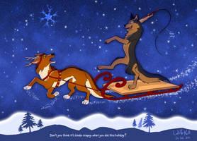 Wolf Reindeer Sleigh by WolfKodi