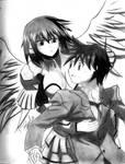 Ikaros and Tomoki~Angel hug by dimitrigoku