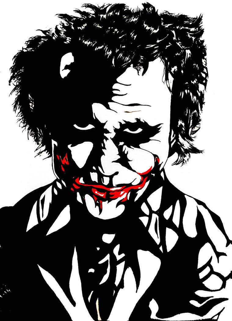 Black and white joker heath ledger style by fpfk