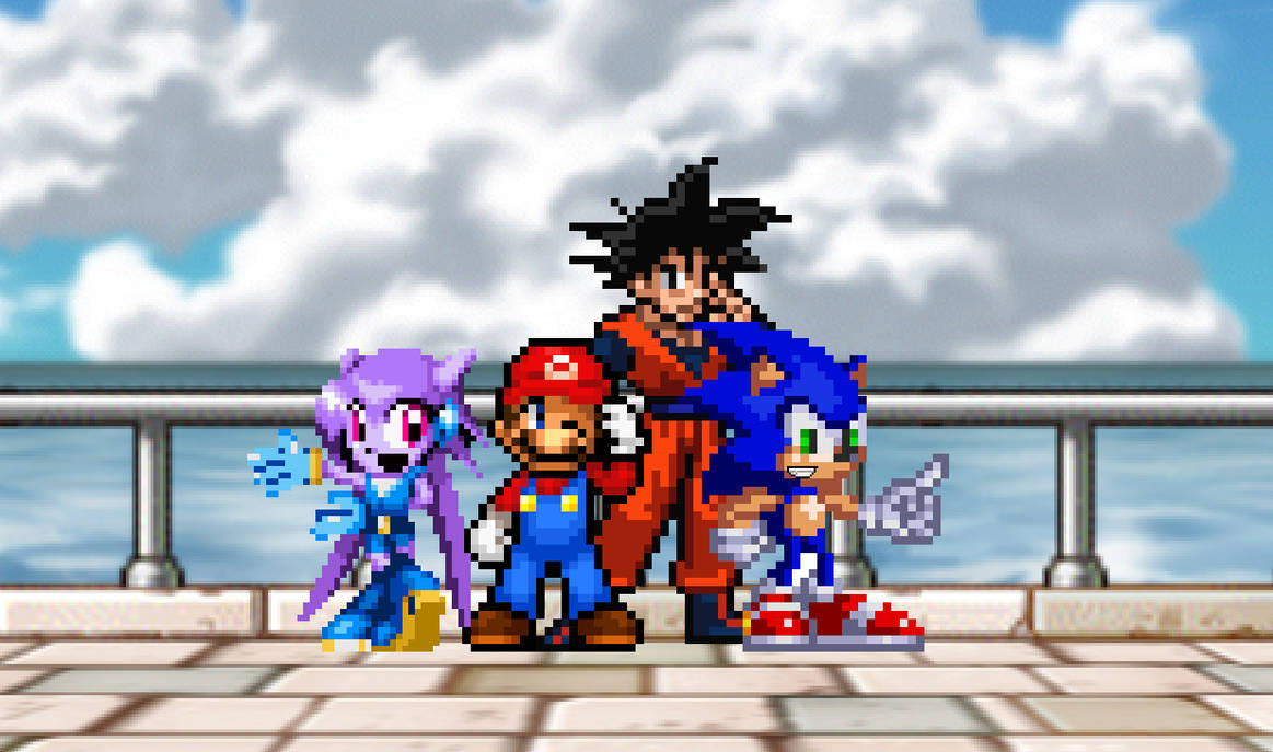 Mario, Sonic, Lilac and Goku Group Pic by sonicmechaomega999
