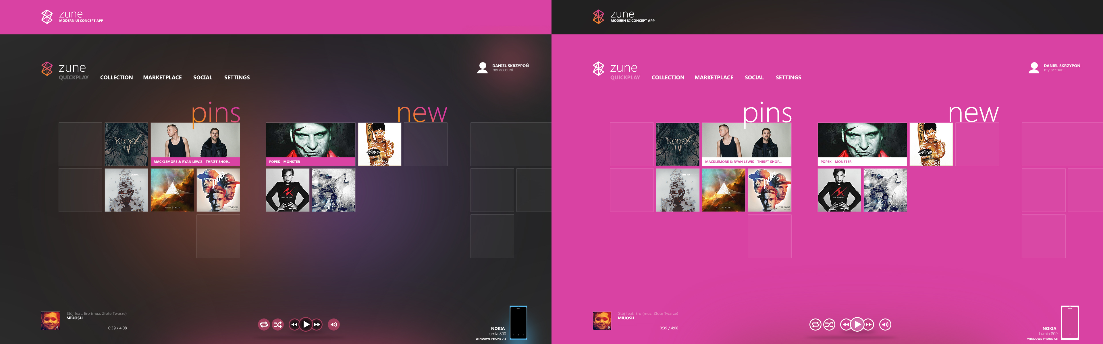 zune music - Concept Modern UI App by danielskrzypon