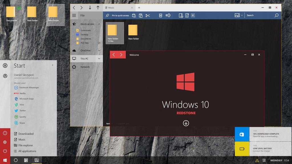 Windows 10 Redstone - Concept (Modern Start-Slim) by danielskrzypon