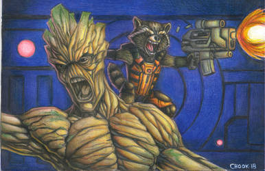 rocket and groot...