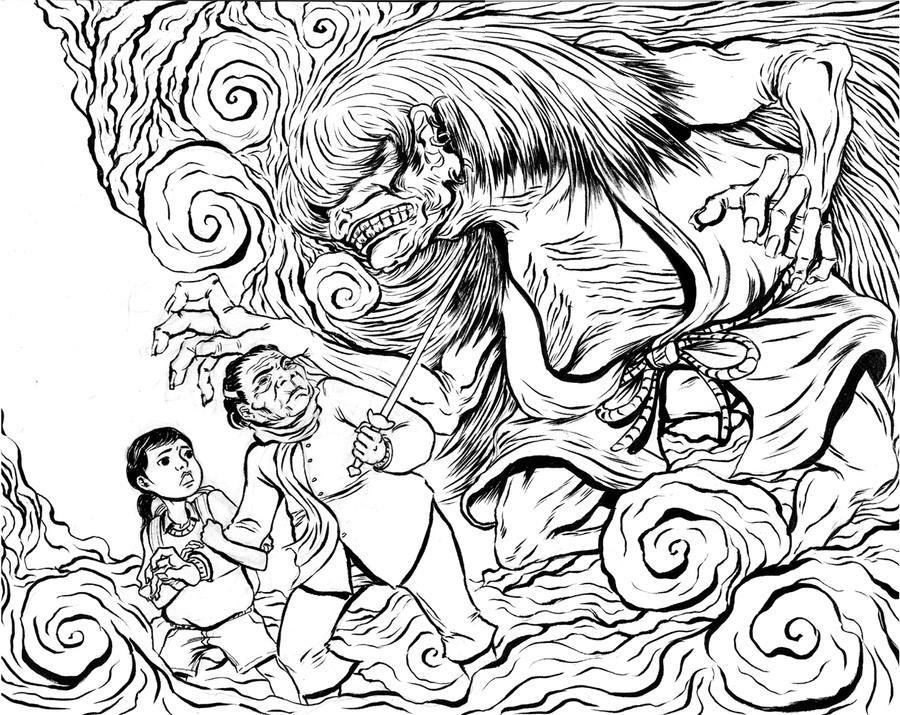 Old Woman vs Demon BW by ThreeEyesWorm