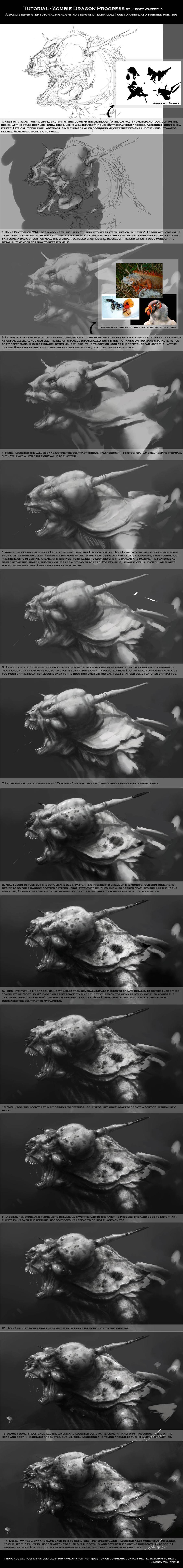 Tutorial: Zombie Dragon by LindseyWArt