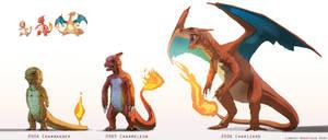 Pokemon: Charmander, Charmeleon, and Charizard