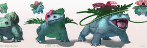 Pokemon: Bulbasaur, Ivysaur, Venusaur by LindseyWArt