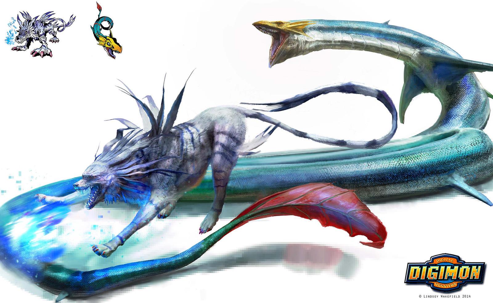 Digimon: Garurumon vs Seadramon by TwoDD