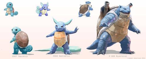 Pokemon: Squirtle, Wartortle, and Blastoise