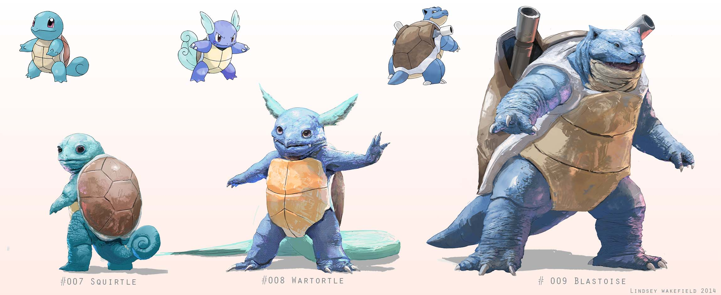 Pokemon: Squirtle, Wartortle, and Blastoise by LindseyWArt ...