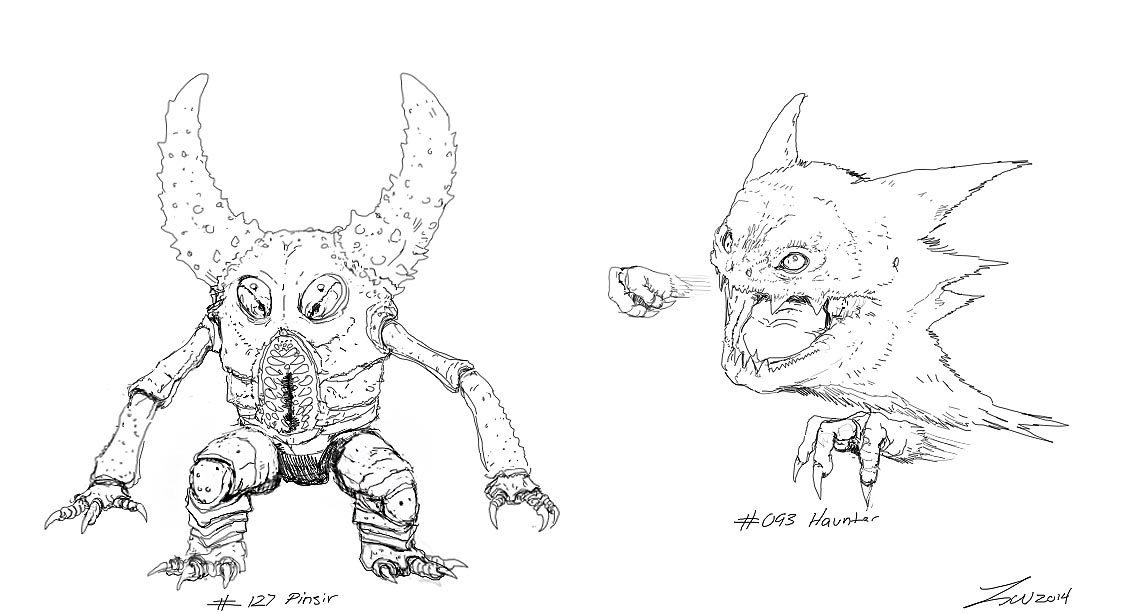 Pokemon: Pinsir and Haunter Lines by TwoDD