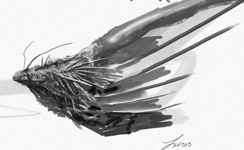 Catfish dragon doodle by LindseyWArt