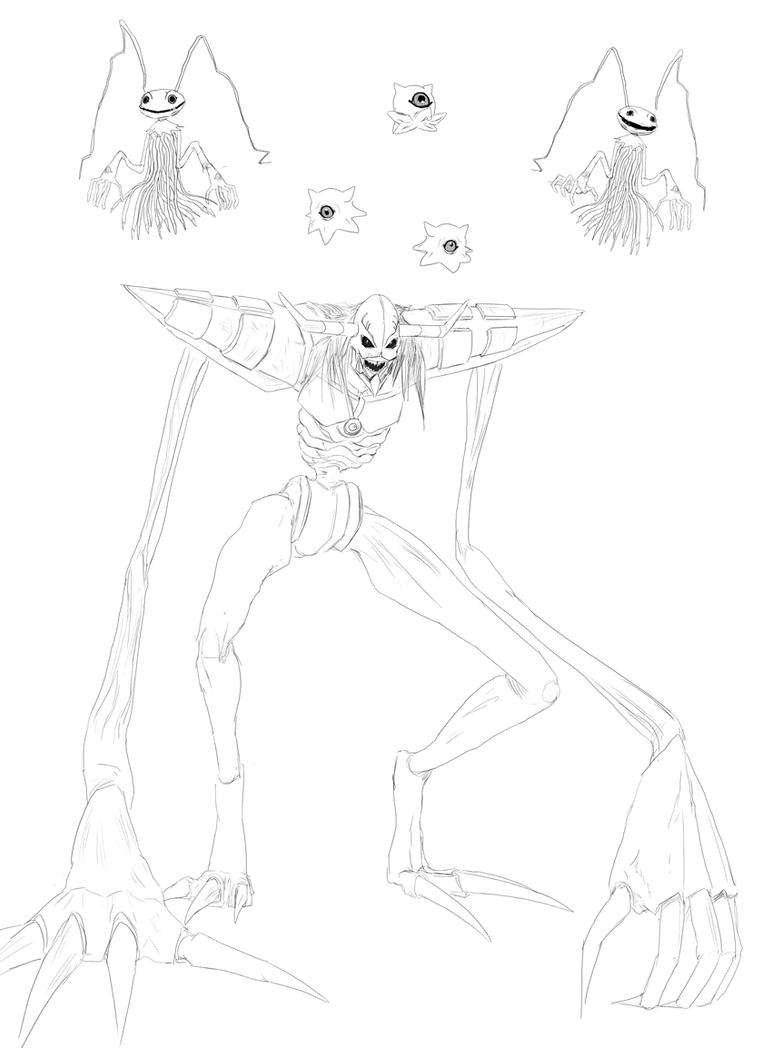 Digimon Sketching: Diaboromon, Keramon, and Kuramo by LindseyWArt