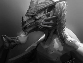 Sketch: Dragon Drinking Tea by LindseyWArt