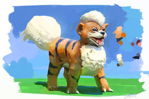 #058 Growlithe by LindseyWArt