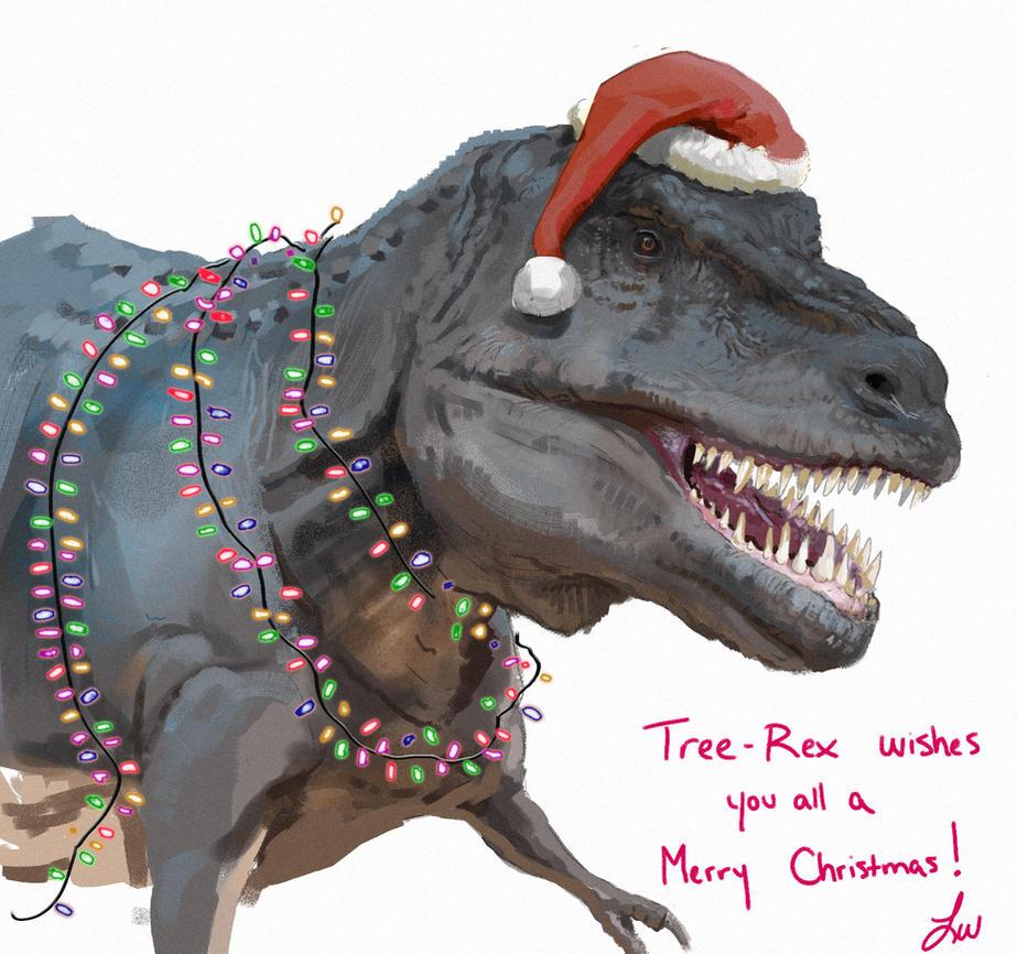Merry T-Rexmas! by LindseyWArt