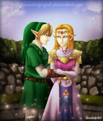 .:Commission:. Zelda and Link by Anilede