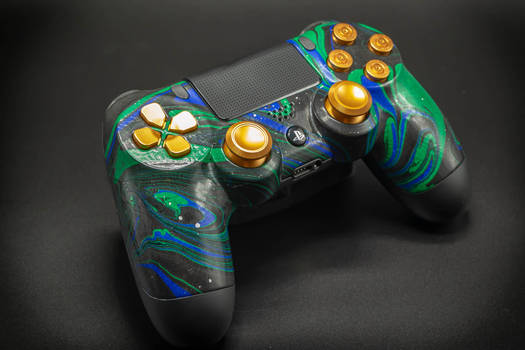 Custom Gold/Green Swirl Painted PS4 Controller