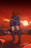 Nausicaa and the Setting Sun by MareniusArt