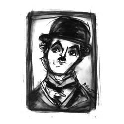 Charlie Chaplin - charcoal by noradoesmanga