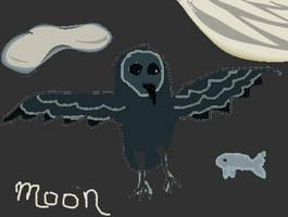 Solar Owl - Moon by letrainfalldown