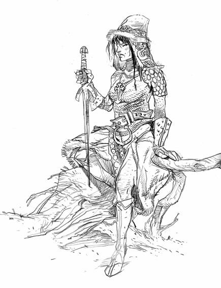warrior princess sketch by lionelmarty
