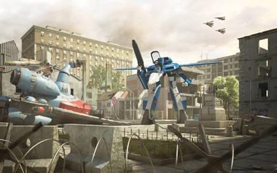 MACROSS : VF-1J Vs. Glaug by 3D-Brainx