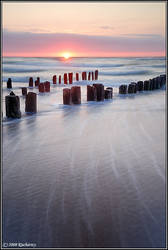 Sunset and windy sea