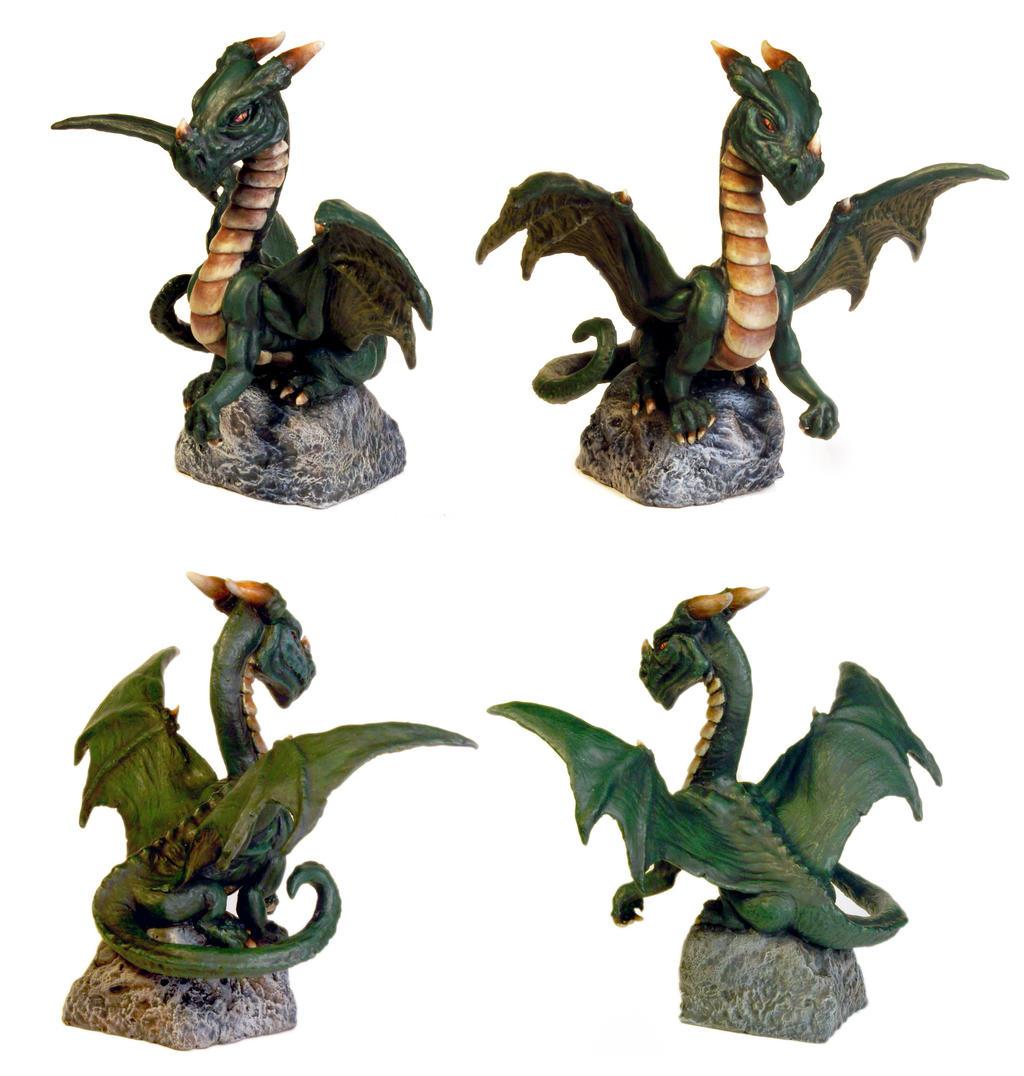 Green Dragon Sculpture by DrMonkeyface