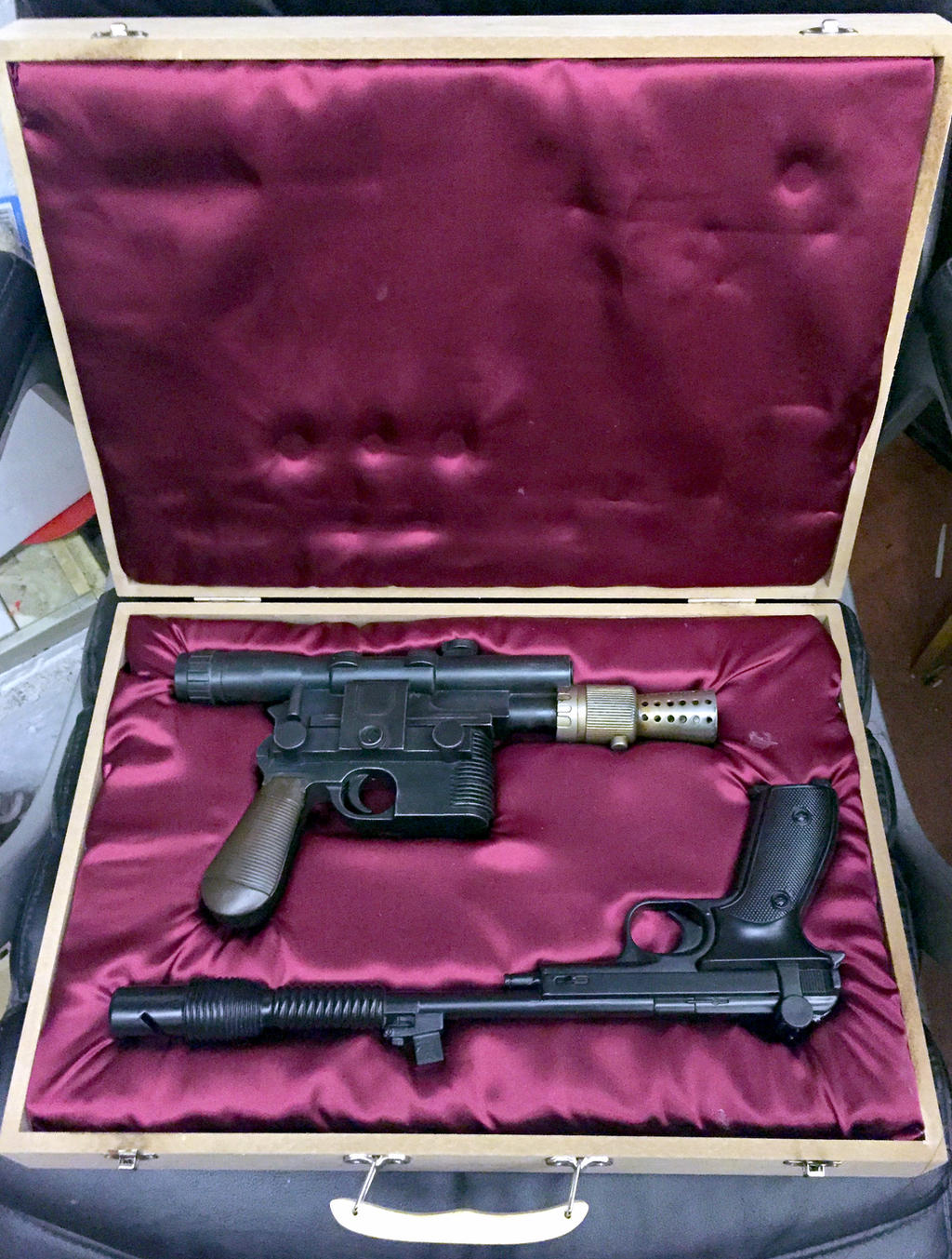 Han and Leia blaster set - Star Wars prop by DrMonkeyface
