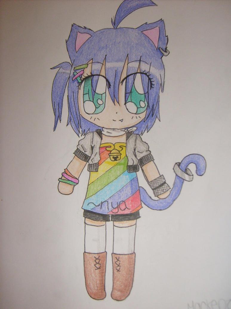 Purple neko girl by Meekee-chan-desu