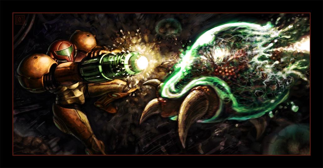 Samus Blasts a Metroid