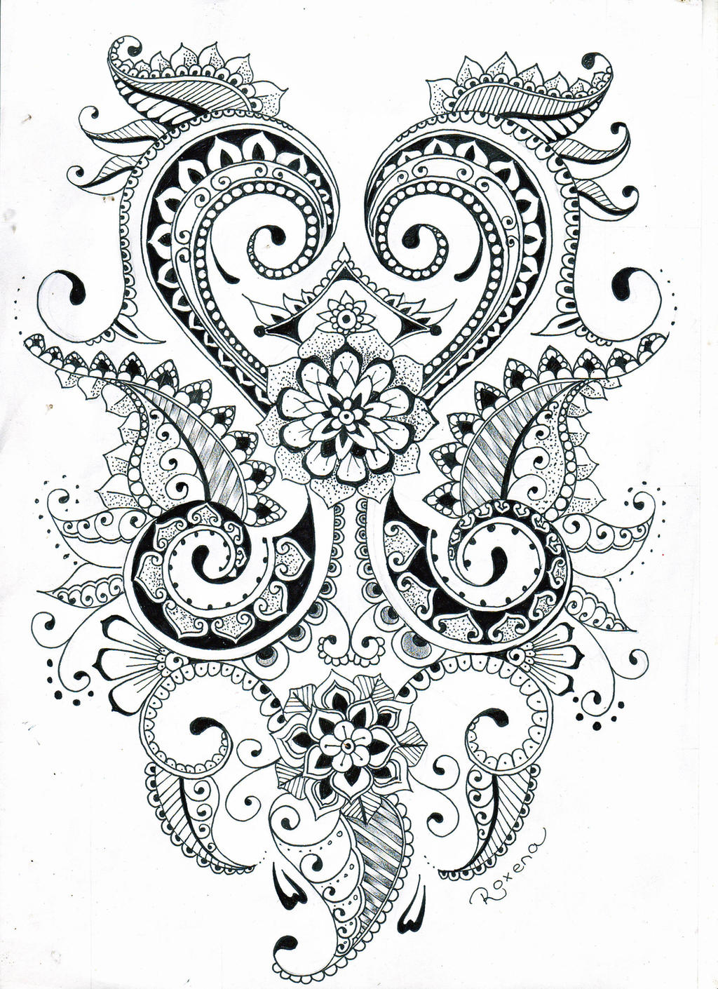 Henna Design Line Art : Mehndi flower design by roxenabernardi on deviantart