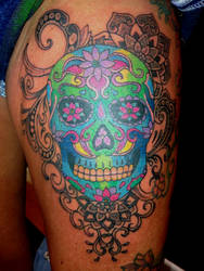 pattern work and dotwork candy skull custom design by RoxenaBernardi