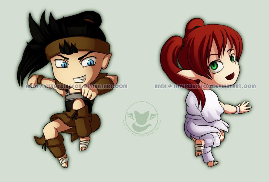 Koga and Ayame chibi by Silverwingfox