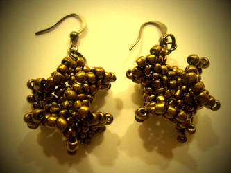 Brass Beaded Earings by Trelela