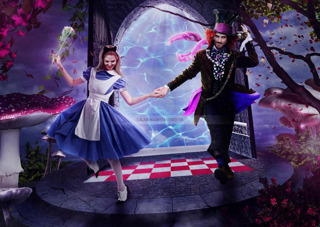 Emma Swan and Killian Jones in Wonderland by LaLaMora